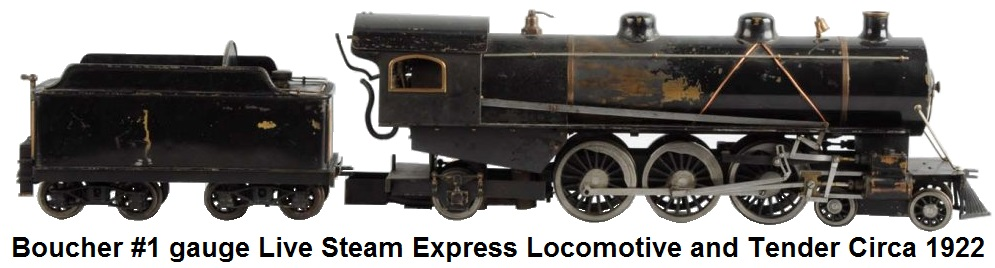 Boucher #1 gauge 4-6-2 live steam express locomotive and tender circa 1922