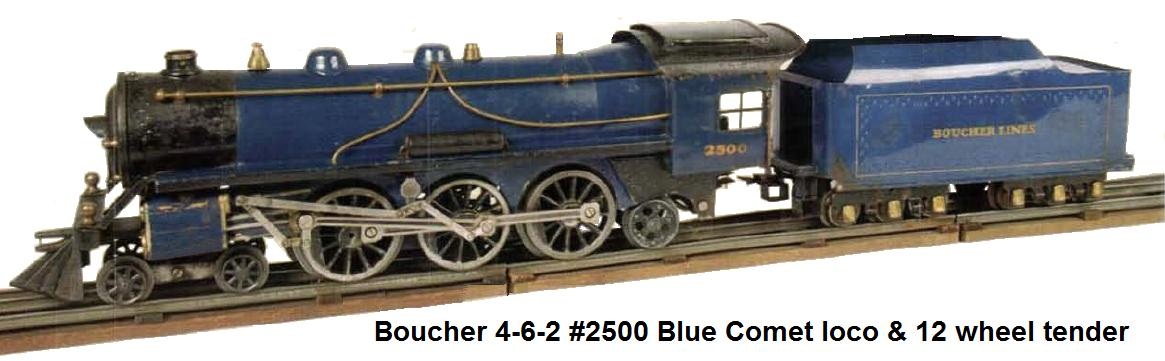 Boucher #2500 Deluxe 4-6-2 standard gauge Blue Comet locomotive and 12 wheel tender