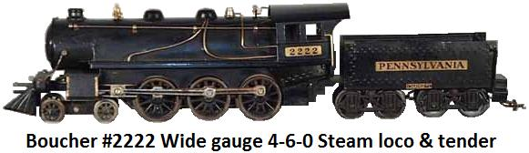 Boucher #2222 4-6-0 standard gauge steam outline locomotive from original Voltamp design