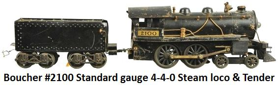 Boucher #2100 4-4-0 Atlantic type steam outline locomotive and tender in Standard gauge