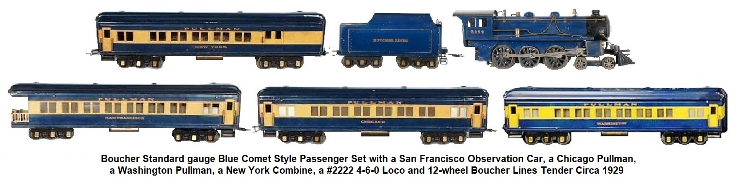 Boucher Standard gauge Blue Comet type passenger set with New York Combine, San Francisco Observation car, Washington Pullman, Chicago Pullmnan, #2222 4-6-0 Loco & 12-wheel Boucher Lines tender circa 1929