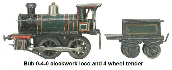 Bub 0-4-0 clockwork loco and tender