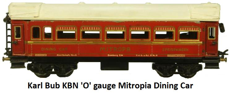 Bub 'O' gauge Mitropa Dining car
