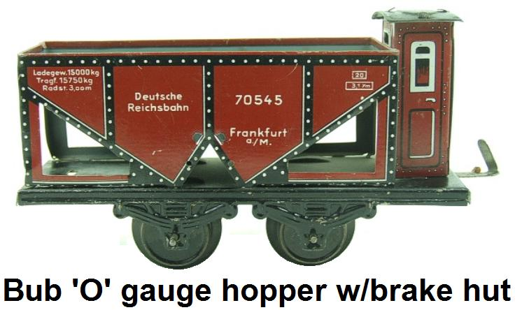 Bub 'O' gauge Hopper Wagon With Brake Hut