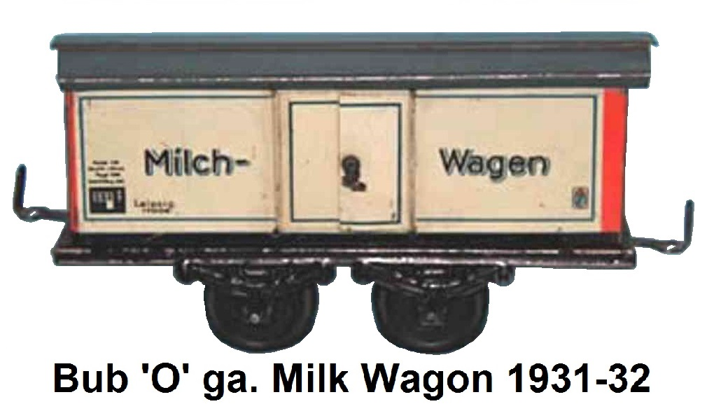 Bub 'O' gauge tinplate litho Milk wagon made 1931-32