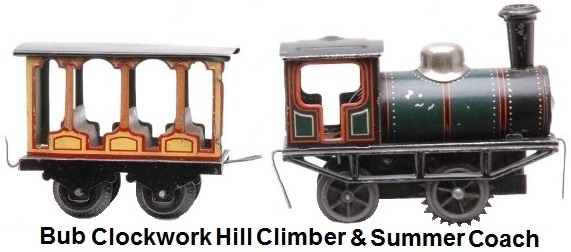 Karl Bub prewar 'S' gauge clockwork hill climbing steam locomotive with summer passenger car. Train is smaller than 'O' gauge with track size approximately 24mm