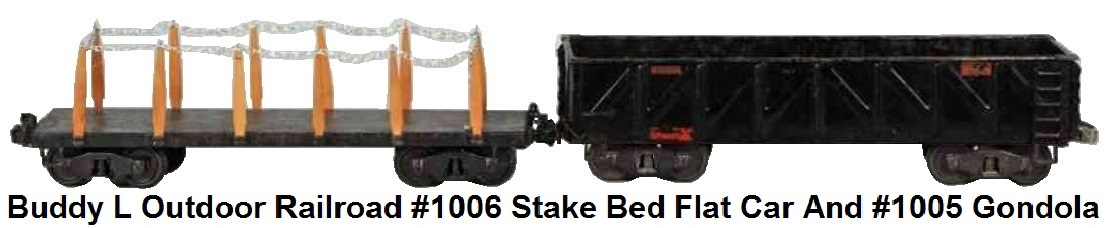 Buddy L #1006 3¼ inch Outdoor Railroad Stake Bed Flat Car and #1005 3¼ inch Outdoor Railroad gondola