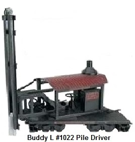 Buddy L #1022 3¼ inch Outdoor Railroad Pile Driver