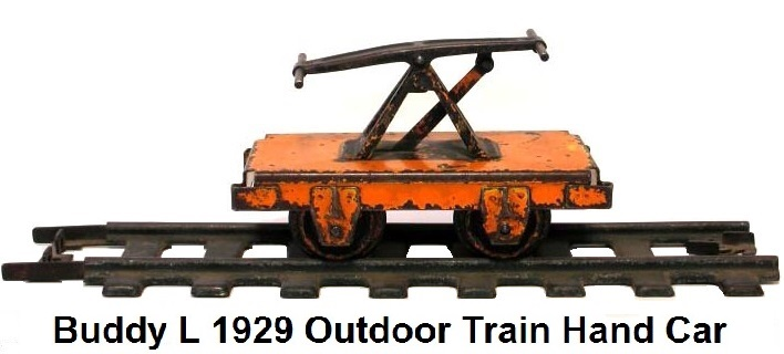 Buddy L Outdoor Railroad Industrial Trains Handcar circa 1929