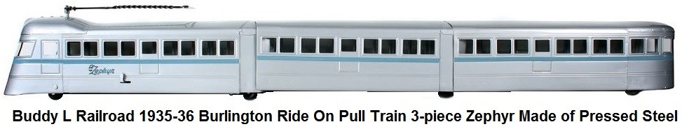 Buddy L Railroad 1935-36 Burlington Ride On Pull train 3-piece Zephyr made of pressed steel
