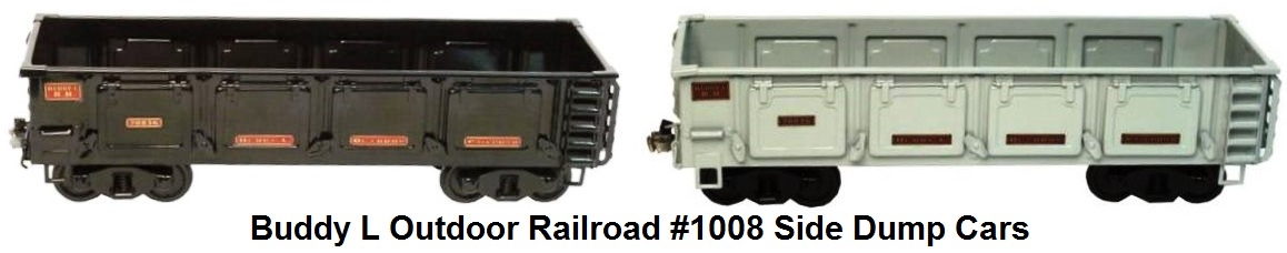 Buddy L 3¼ inch gauge Outdoor Railroad #1008 Side Dump Coal Ballast Cars