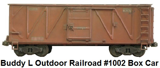 Buddy L #1002 3¼ inch Outdoor Railroad box car #1002