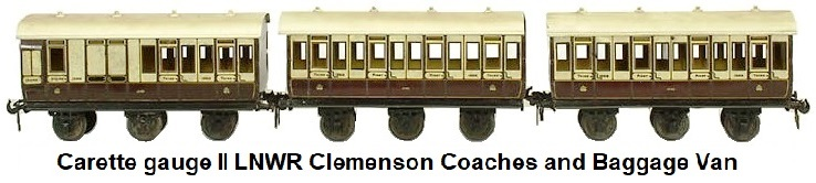 Carette 2 gauge London & North West Railway Clemenson coaches and Luggage Van