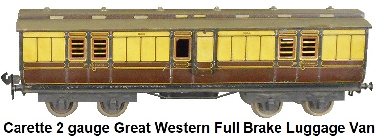 Carette 2 gauge Great Western Full Brake Luggage Van in litho tin