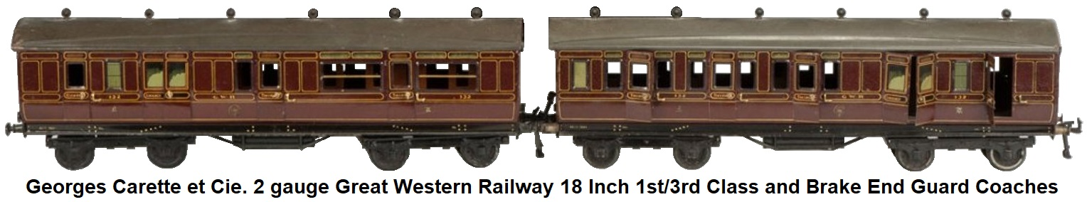 Carette 2 gauge Great Western Railway 1st/3rd Class and Brake End Guard Coaches #132 Ht. 5 1/2 inches L 19 inches
