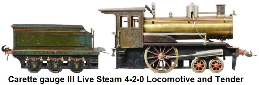 Carette 3 gauge 2.5 inch Live steam locomotive and tender
