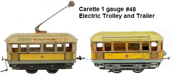 Carette #48 Trolley & Trailer in 1 gauge circa 1905