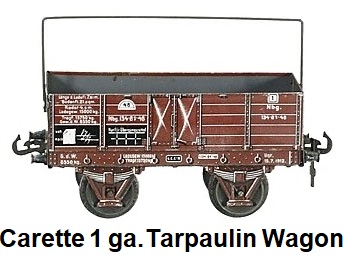 Carette 1 gauge tarpaulin wagon