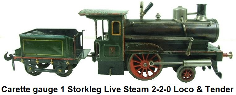 Carette gauge 1 Storkleg live steam 2-2-0 loco & tender