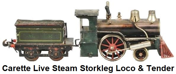 Carette live steam Storkleg locomotive & tender