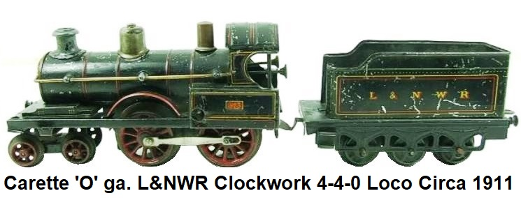 Carette 'O' gauge L&NWR 4-4-0 Loco & six wheeled Tender, RN 513, Clockwork circa 1911