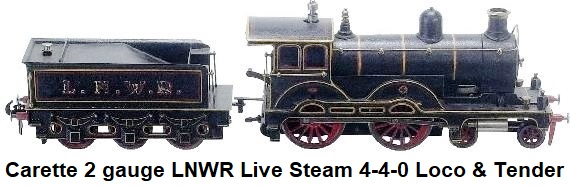 Carette 2 gauge L&NWR Live Steam 4-4-0 Engine & Tender