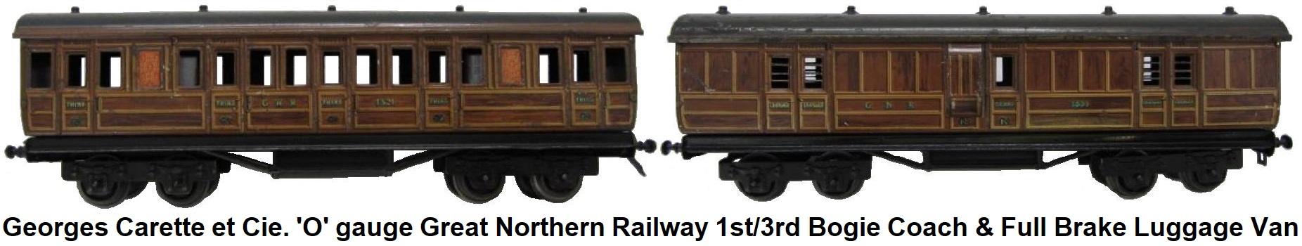 Carette 'O' gauge Great Northern Railway 1st/3rd Bogie Coach and Full Brake Luggage Van