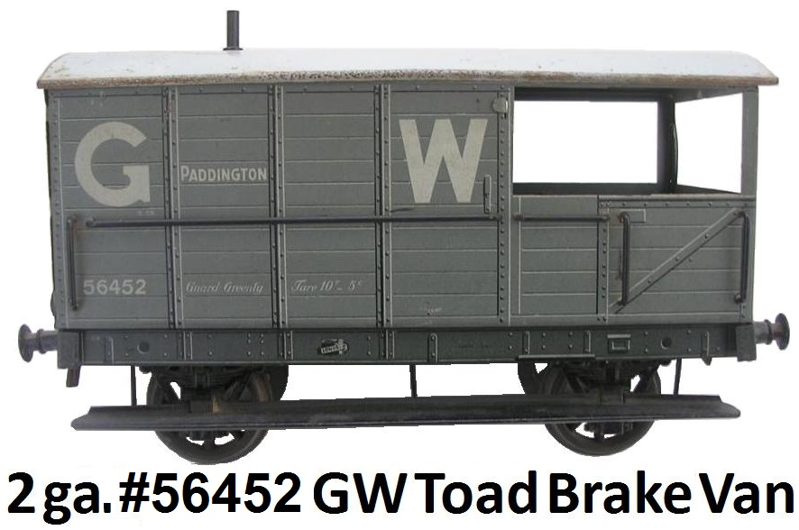 Carette 2 gauge #56452 Great Western Toad Brake Van