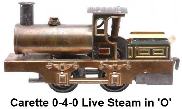 Carette 'O' gauge live steam 0-4-0 locomotive circa 1910