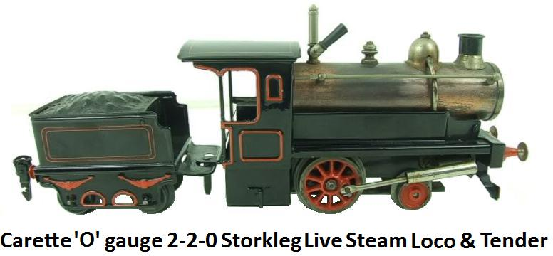 Carette 'O' gauge, 2-2-0, Storkleg Loco & Four-Wheeled Tender, Live Steam