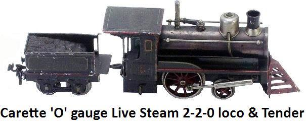 Carette 'O' gauge Live Steam 2-2-0 Engine & Tender-an early hand enameled tin American outline engine