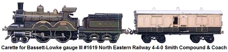 Carette for Bassett-Lowke gauge III #1619 Smith Compound North Eastern Railway 4-4-0 and coach