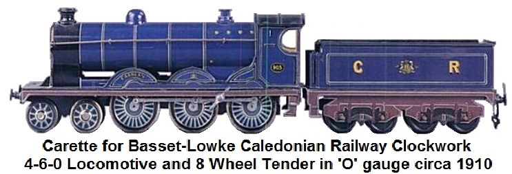 Carette for Basset-Lowke Caledonian Railway Clockwork loco and tender in 'O' gauge circa 1910