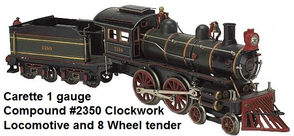 Carette 1 gauge #2350 Clockwork 4-4-0 Compound Locomotive & Tender circa 1900