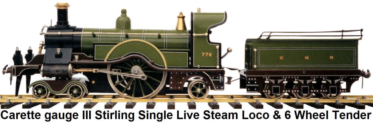 Carette for Bassett-Lowke gauge III Stirling Single Live Steam Locomotive and tender