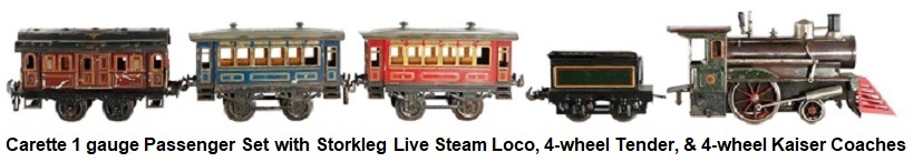 Carette 1 gauge Passenger Set with Storkleg Live Steam Loco, 4-wheel Tender, and Tin-plate Hand enamelled 4-wheel Kaiser Coaches