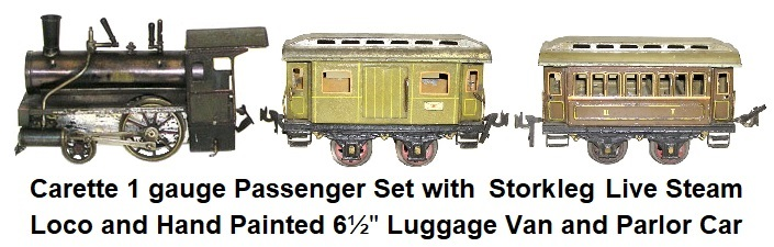 Carette gauge 1 Live Steam Passenger Set with Storkleg Loco and Hand Painted 6½ inch Luggage Van and Parlor Car