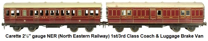 Carette 2½ inch gauge (gauge III) North Eastern 1st/3rd Corridor Coach and Full Brake Luggage Van