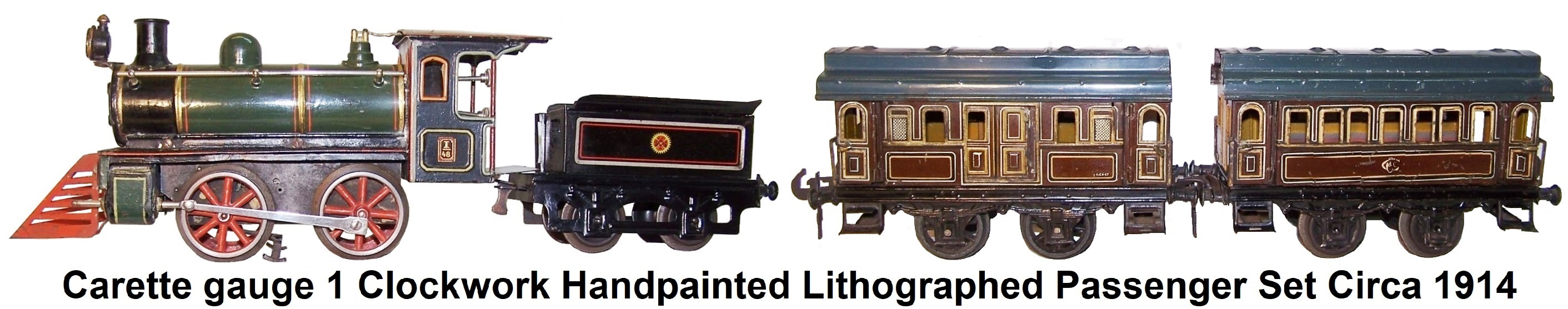 Carette 1 gauge Clockwork Handpainted and Lithographed passenger set circa 1914