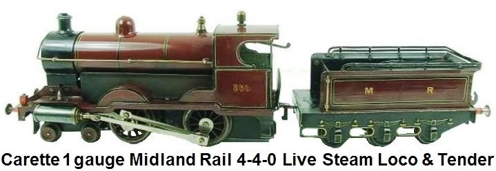 Carette gauge 1 Midland Railway 4-4-0 Loco & 6 wheel tender #854 Live Steam