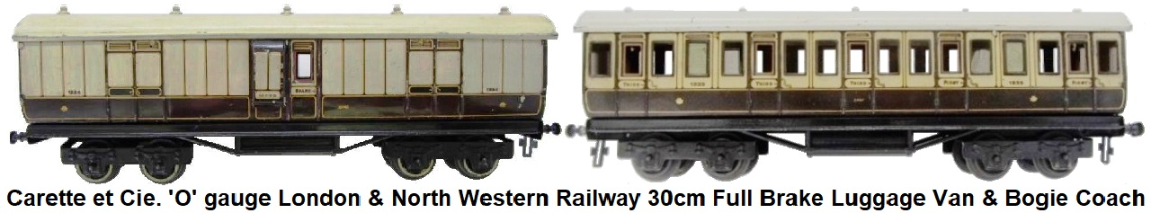 Carette 'Carette 'O' gauge London & North Western Railway 30cm Full Brake Lugage Van and Bogie Coach