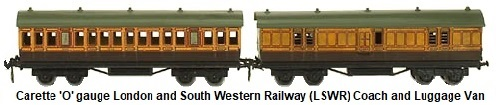 Carette 'O' gauge London and South Western Railway (LSWR) coach and Luggage Van