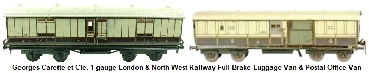 Carette 1 gauge London & North West Railway Full Brake Luggage Van #1334 & L&NWR Post Office Car