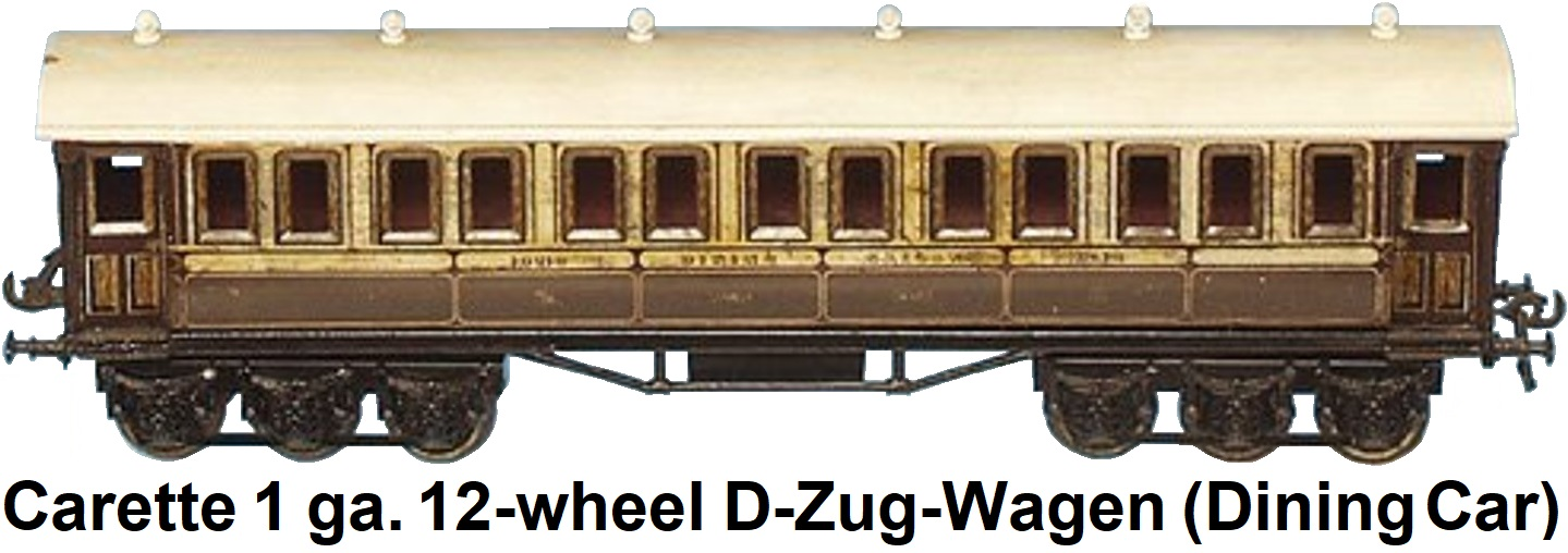 Carette 1 gauge 12-wheel D-Zug-Wagen (Dining Car) #13210