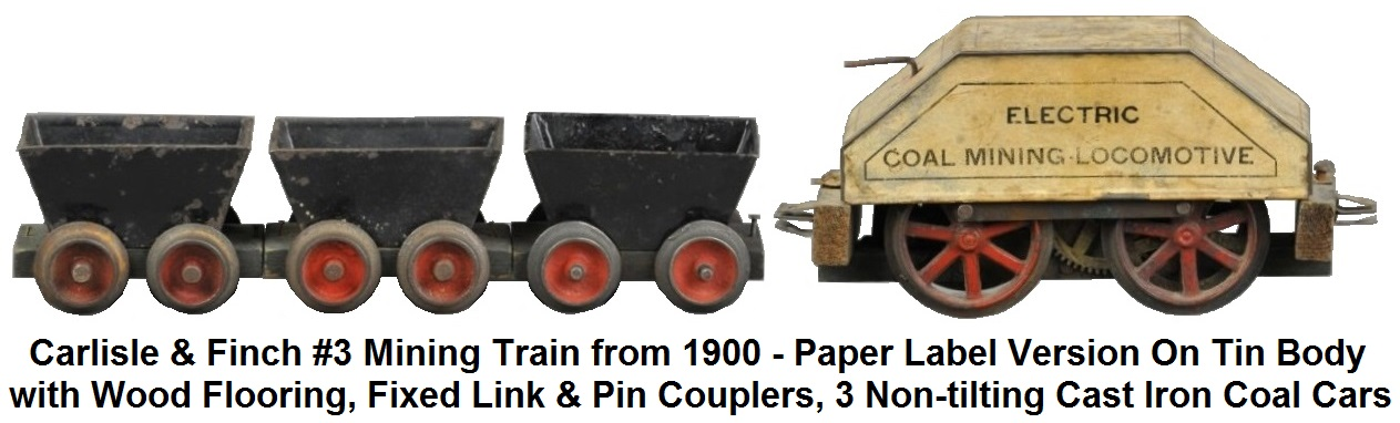 Carlisle & Finch #3 Mining Train in 2 inch gauge circa 1900, paper label covered version on tin body with wood flooring, fixed link & pin couplers, three non-tilting cast iron coal cars