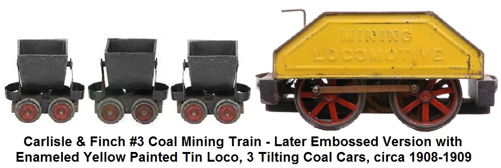 Carlisle & Finch #3 Mining Train in 2 inch - later version with embossed tin locomotive painted enameled yellow, circa 1908-1909