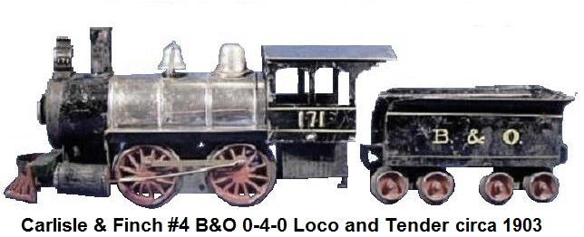 Carlisle & Finch Nickel Plated #4 0-4-0 Loco & Tender in 2 inch gauge circa 1903