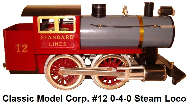 Classic Model Corp. Standard gauge #12 0-4-0 Steam locomotive with coal bin made in 1970