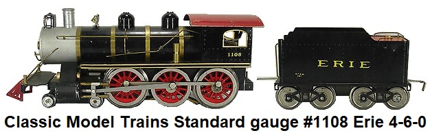Classic Model Trains Standard gauge #1108 Erie 4-6-0 Steam Outline loco and tender