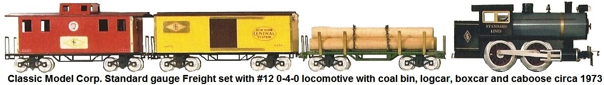 Classic Model Corp. Standard gauge #12 0-4-0 locomotive and freight set with #100 Lumber car, #101 Box car and #105 Caboose circa 1973